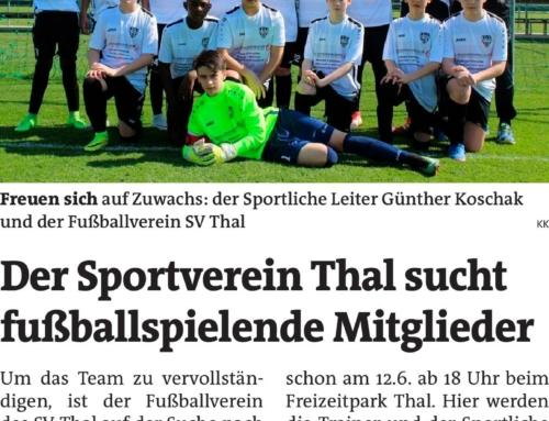 SV Thal sucht fußballspielende Mitglieder